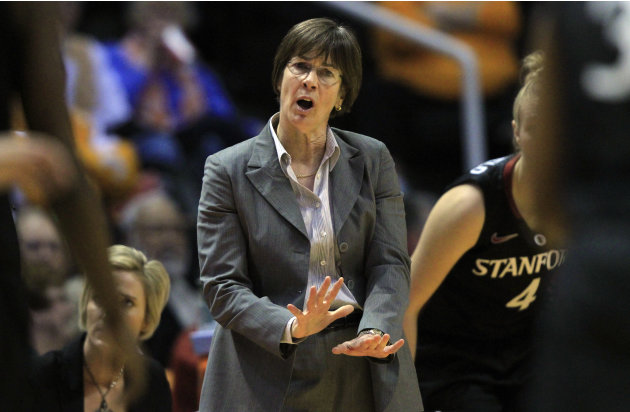 Stanford head coach Tara VanDerveer directs her team in the first half of an NCAA college basketball game against Tennessee on Saturday, Dec. 22, 2012, in Knoxville, Tenn. Stanford won 73-60. (AP Phot