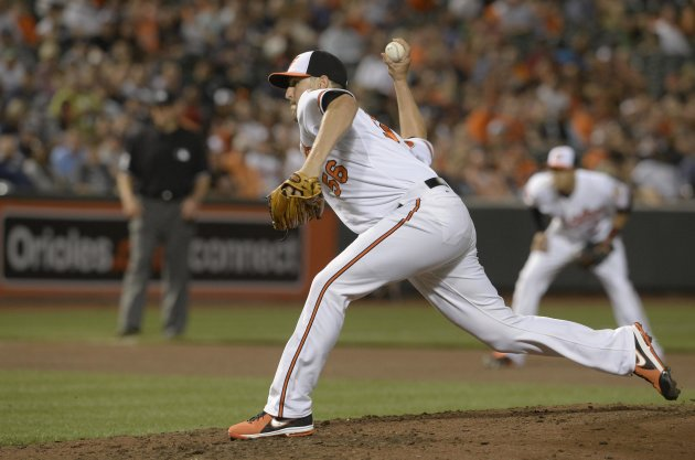 Baltimore Orioles' O'Day pitches against New York Yankees during their MLB American League baseball game in Baltimore