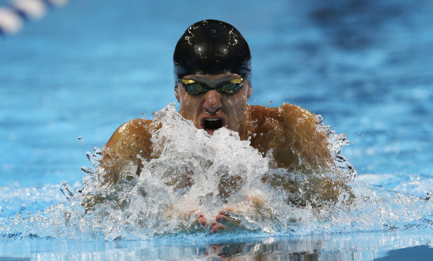 BrendanHansen swims in the men&#39;s 100-meter breaststroke final at the U.S. Olympic swimming trials, Tuesday, June 26, 2012, in Omaha, Neb. (AP Photo/David J. Phillip)