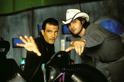 Antonio Banderas and director Robert Rodriguez on the set of Dimension's Spy Kids 2: The Island of Lost Dreams