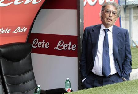 Inter Milan's president Moratti looks on before the start of their Italian Serie A soccer match against Genoa in Milan