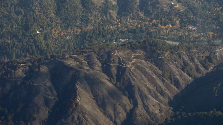 Aerial view shows a burned out area along Pfeiffer Ridge in Big Sur