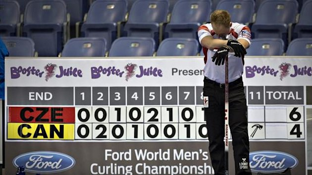 Canada skip Brad Jacobs reacts after falling behind the Czech Republic during their game at the World Men's Curling Championships in Victoria, British Columbia (Reuters)