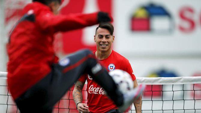 Chile's soccer player Vargas participates in a team training session in Santiago
