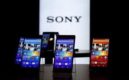 Sony's new Xperia Z4 smartphones are displayed at the company headquarters in Tokyo