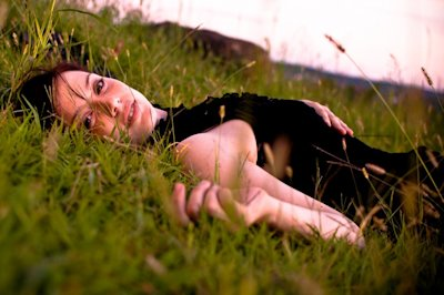 grass, girl, relaxed, happy