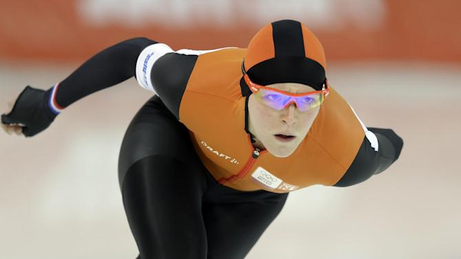 Jorien ter Mors of the Netherlands skates her way to gold in the women's 1,500-meter speedskating race at the Adler Arena Skating Center during the 2014 Winter Olympics in Sochi, Russia, Sunday, Feb. 16, 2014