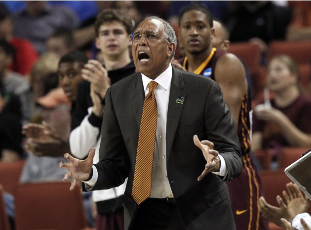 University of Minnesota coach Tubby Smith reacts during their second round NCAA basketball game against the University of California Los Angeles in Austin