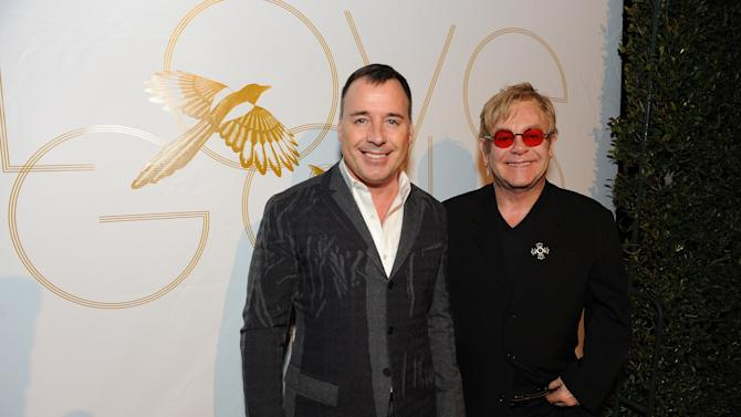 """IMAGE DISTRIBUTED FOR LOVEGOLD - David Furnish and Elton John attend LoveGold/EJAF Celebrate """"How to Survive a Plague"""" at Chateau Marmont on February 22, 2013 in Los Angeles. (Photo by Jordan Strauss/Invision for LoveGold/AP Images)"""