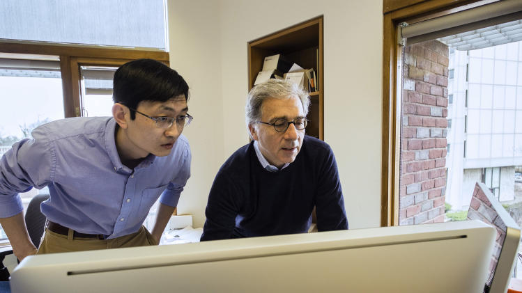 In this April 5, 2013 photo provided by Harvard University, Harvard Stem Cell Institute Co-Director Doug Melton, right, and Peng Yi, a post doctoral fellow in his lab, review data from recent experiments in Melton's lab in Cambridge, Mass. Melton and Yi have identified a hormone that can sharply boost a mouse's supply of cells that make insulin, a discovery that may someday provide a diabetes treatment. People make the hormone naturally, and the new work suggests that giving them more might one day let patients avoid insulin shots. (AP Photo/Harvard University)