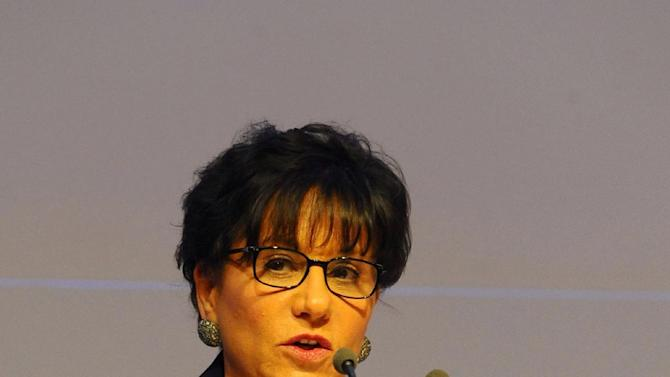 U.S. Commerce Secretary Penny Pritzker delivers a keynote speech during a conference on investment and entrepreneurship held in Gammarth near Tunis, Tunisia, Thursday, March 5, 2015. Tunisia is hosting a major conference on investment and entrepreneurship in hopes of stimulating an economy that has been hard bit by the turmoil following the revolution. (AP photo/Hassene Dridi)