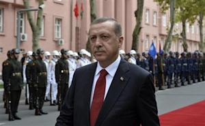 Turkey's Prime Minister Erdogan is seen during a welcoming ceremony for his Pakistani counterpart Sharif in Ankara