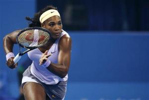 Williams of the U.S. runs to return a shot during her women's singles semi-final match against Radwanska of Poland at the China Open tennis tournament in Beijing