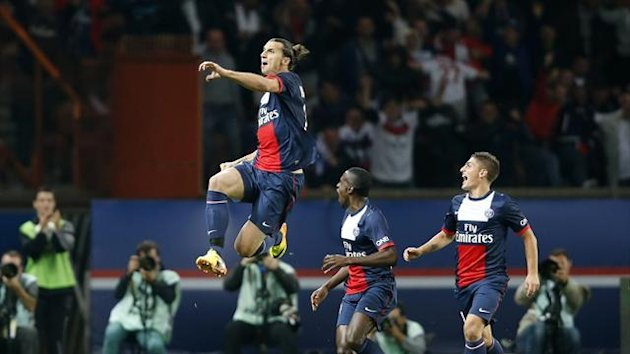 Zlatan Ibahimovic celebrates his goal against Monaco (Reuters)