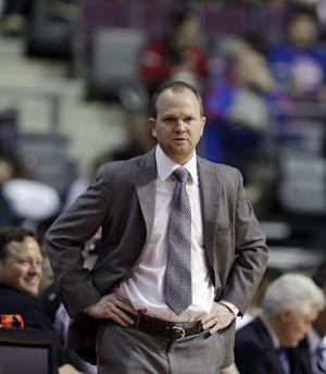 Detroit Pistons head coach Lawrence Frank watches from the sidelines during the first half of an NBA basketball game against the Philadelphia 76ers at the Palace in Auburn Hills, Mich., Monday, April 15, 2013. (AP Photo/Carlos Osorio)