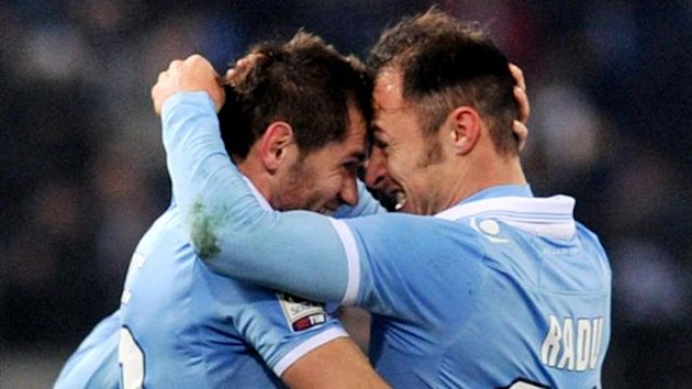 Lazio's defender of Bosnia and Herzegovina Senad Lulic celebrates after scoring against Pescara (AFP)