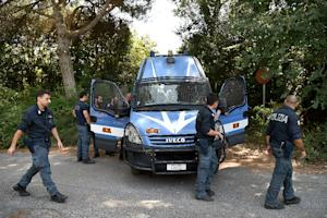 Police on guard at Casale San Nicola, north of Rome, …