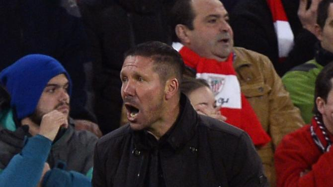 Atletico Madrid coach Simeone gestures during their Spanish first division match against Athletic Bilbao in Bilbao