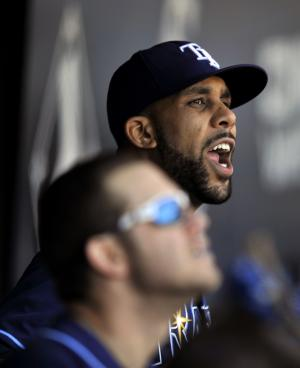 Tampa Bay Rays starting pitcher David Price yells in the dugout after exchanging words with home plate umpire Tom Hallion during the seventh inning of a baseball game against the Chicago White Sox in Chicago, Sunday, April 28, 2013. Tampa Bay won 8-3. (AP Photo/Paul Beaty)