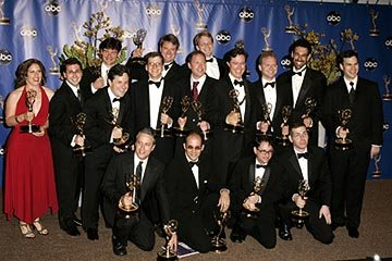 "The crew from ""The Daily Show with Jon Stewart"" Outstanding Variety, Music or Comedy Program Emmy Awards - 9/19/2004"