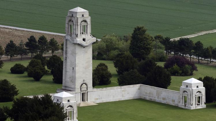 An aerial view shows Australian National Memorial in Villers-Bretonneux