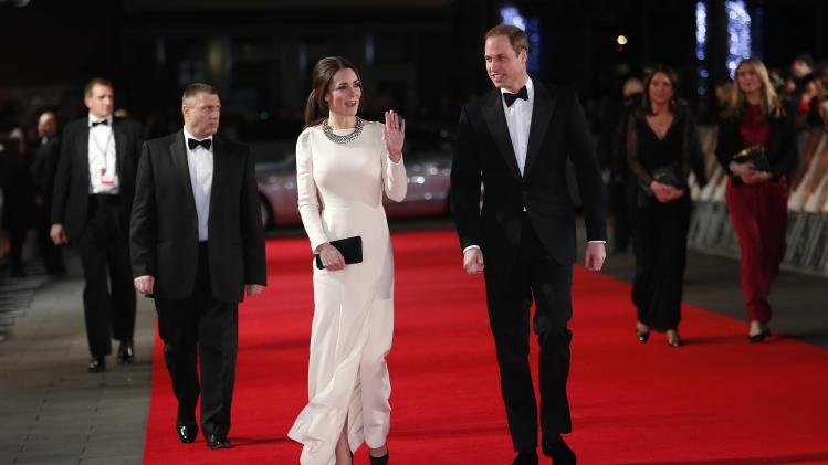 "Britain's Prince William and his wife Catherine, the Duchess of Cambridge arrive for the Royal Premiere of ""Mandela: Long Walk to Freedom"" in London"