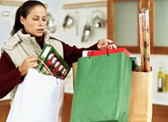Woman cartrying lots of shopping bags
