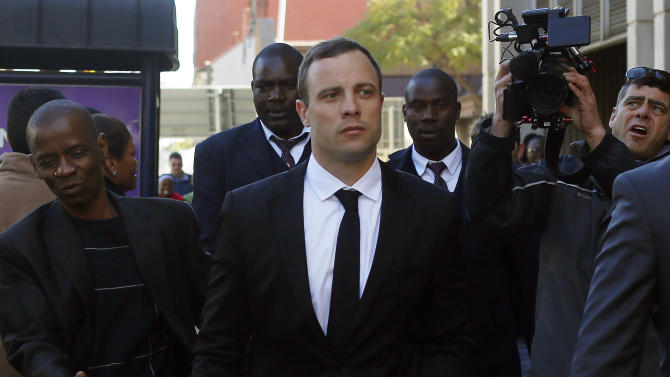 FILE - In this Monday, July 7, 2014 file photo Oscar Pistorius leaves court in Pretoria, South Africa in his ongoing murder trail. Prosecutors and lawyers for Oscar Pistorius have one last chance to convince a South African judge when they present closing arguments this week in the murder trial of the once-celebrated athlete who fatally shot his girlfriend, Reeva Steenkamp, through a toilet cubicle door in his home. On Thursday Aug. 7, 2014 and Friday, both sides will summarize their versions of the shooting to Thokozile Masipa, the red-robed judge who will determine the fate of the double-amputee Olympic runner. bedroom. (AP Photo/Jerome Delay, File)
