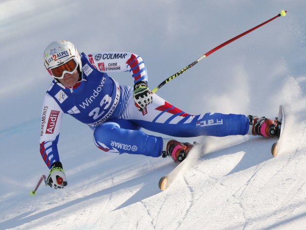 Rolland of France speeds down during the women's Alpine Skiing World Cup super-G race in Garmisch-Partenkirchen