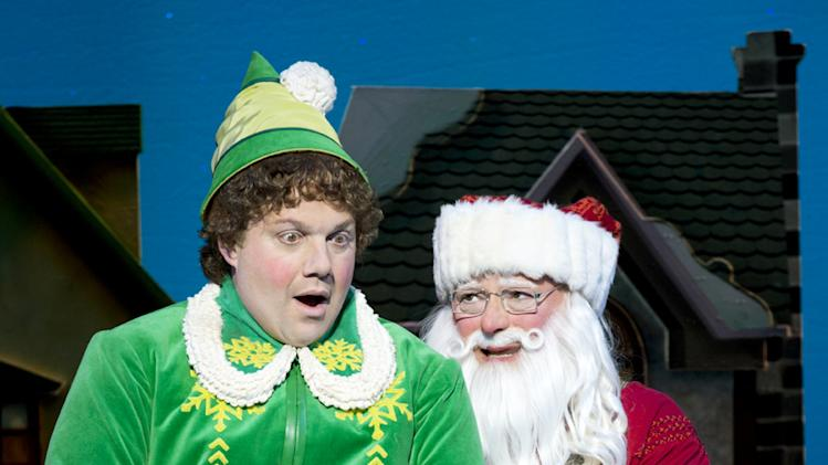 "This theater image released by The Hartman Group shows Jordan Gelber, left, and Wayne Knight during a performance of the musical ""Elf,"" in New York. (AP Photo/The Hartman Group, Joan Marcus)"