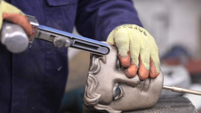 BAFTA winner's masks are made at foundry ahead of 2015 BAFTA Awards Ceremony, in west London