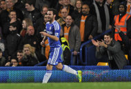 Chelsea's Juan Mata celebrates after scoring a goal against Wolverhampton Wanderers during their English Premier League soccer match at the Stamford Bridge Stadium, London, Saturday, Nov. 26, 2011. (AP Photo/Tom Hevezi)