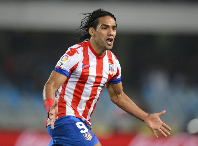 File photo of Atletico Madrid's Falcao celebrating his goal against Real Sociedad during their Spanish First Division soccer match in San Sebastian