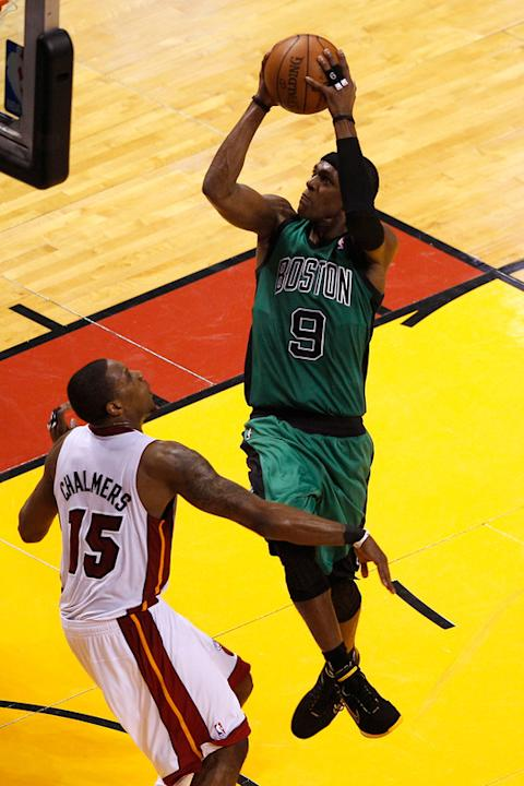Rajon Rondo #9 Of The Boston Celtics Drives Getty Images