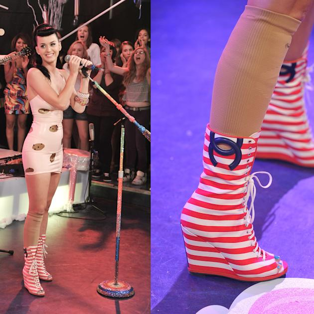 Katy Perry's striped Chanel peep-toe booties