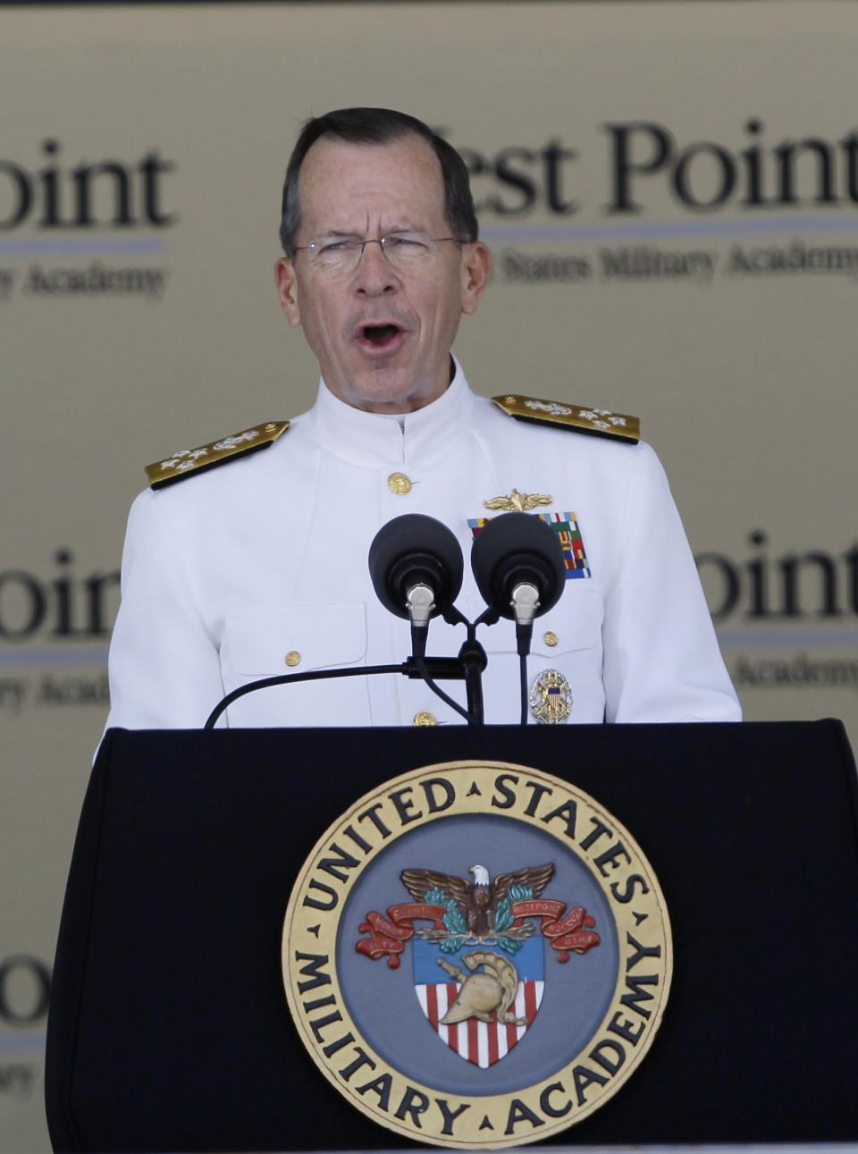 Joint Chiefs Chairman Adm. Mike Mullen speaks during a graduation and commissioning ceremony at the U.S. Military Academy in West Point, N.Y., on Saturday, May 21, 2011.   (AP Photo/Mike Groll)