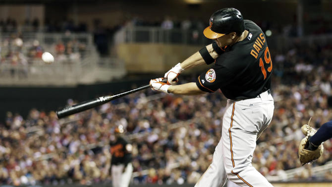 Baltimore Orioles' Chris Davis connects with an RBI-double to tie the game off a pitch from Minnesota Twins' Josh Roenicke in the seventh inning of a baseball game on Friday, May 10, 2013, in Minneapolis. (AP Photo/Jim Mone)