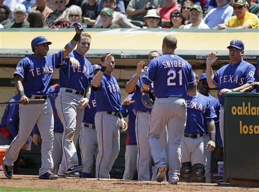 Hicks homers leading off 9th as A's beat Rangers