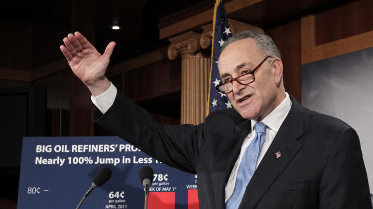 Sen. Chuck Schumer, D-NY, talks to reporters about rising oil refinery profits that could keep gasoline prices high despite the recent drop in oil prices,at the Capitol in Washington, Tuesday, May 17, 2011. (AP Photo/J. Scott Applewhite)