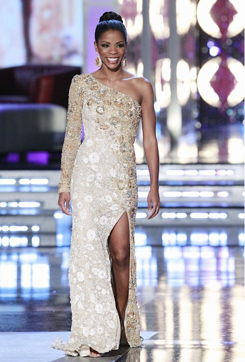 "Miss Kentucky, Djuan Keila, competes in the evening gown competition during the ""2011 Miss America Pageant at the Planet Hollywood Resort & Casino on January 15, 2011 in Las Vegas, Nevada."