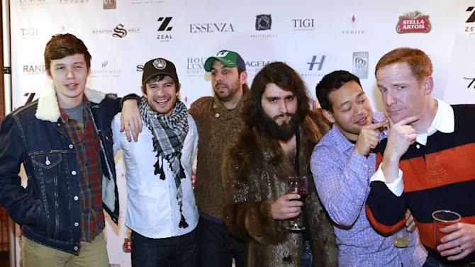 """IMAGE DISTRIBUTED FOR RAND LUXURY - From left, Nick Robinson, cinematographer Ross Riege, writer Chris Galletta, directors Jordan Vogt-Roberts, Eugene Cordero, and Marc Evan Jackson from the film """"Toy's House"""" are seen at Resorts West House of Luxury, on Monday, Jan. 21, 2013 in Deer Valley, Utah. (Photo by Benjamin Cohen/Invision for Rand Luxury/AP Images)"""