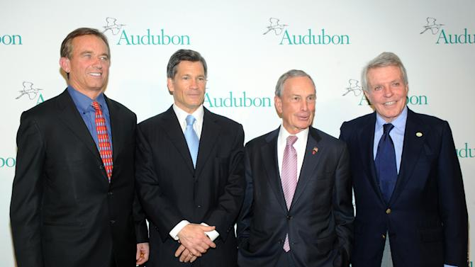IMAGE DISTRIBUTED FOR THE NATIONAL AUDUBON SOCIETY - Robert F. Kennedy Jr., left, honoree Louis Bacon, second left, New York City Mayor Michael Bloomberg, second right, and Dan W. Lufkin attend The National Audubon Society's first gala to jointly award the Audubon Medal and the inaugural Dan W. Lufkin Prize for Environmental Leadership, Thursday, Jan. 17, 2013, in New York.  (Photo by Diane Bondareff/Invision for The National Audubon Society/AP Images)