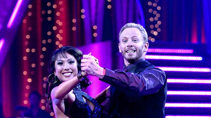 Professional dancer, Cheryl Burke and Ian Ziering perform their second dance in the 4th season of Dancing with the Stars.