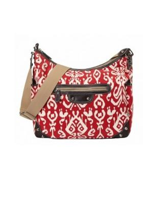 Pompeian Red Ikat Tapestry Hobo Diaper Bag