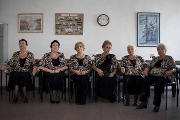 In this Nov. 4, 2012 photo, a choir practices in a government-funded elderly care facility catering to Russian-speaking immigrants in Ashdod, southern Israel. The choir sings Russian standards and Isr