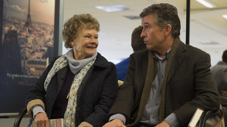 """This image released by The Weinstein Company shows Judi Dench, left, and Steve Coogan in a scene from """"Philomena."""" The film is nominated for an Oscar for best motion picture of the year, along with three other Oscar nominations, including Dench's nomination for performance by an actress in a leading role. This year's best picture race at the 86th Academy Awards on Sunday, March 2, 2014, has shaped up to be one of the most unpredictable in years. (AP Photo/The Weinstein Company, Alex Bailey, file)"""