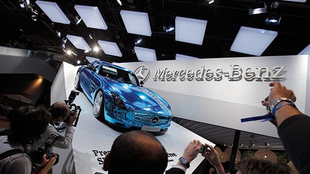 The Mercedes SLS AMG Electric Sports Car displayed during the press day at the Paris Auto Show.