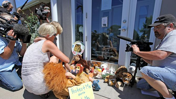A family looks at stuffed animals that block the doorway of Bloomington's River Bluff Dental clinic in protest against the killing a famous lion in Zimbabwe