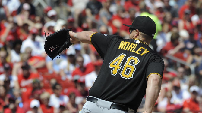 Pittsburgh Pirates' starting pitcher Vance Worley throws against the St. Louis Cardinals in the first inning of a baseball game, Sunday, May 3, 2015, at Busch Stadium in St. Louis. (AP Photo/Bill Boyce)