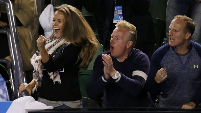 Sears, the fiancee of Murray of Britain, cheers him on during his men's singles final match against Djokovic of Serbia at the Australian Open 2015 tennis tournament in Melbourne